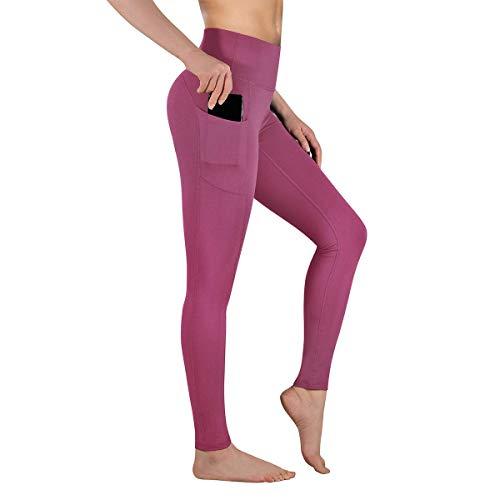 Gimdumasa Pantalón Deportivo de Mujer Cintura Alta Leggings Mallas para Running Training Fitness Estiramiento Yoga y Pilates GI188 (Begonia rosa, M)