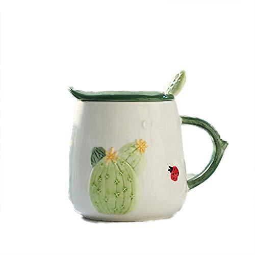 KYSM Tasse en Céramique avec Couvercle Tasse À Café Tasse Mignonne Tasse De Lait Tasse À Café 470ml Figue de Barbarie