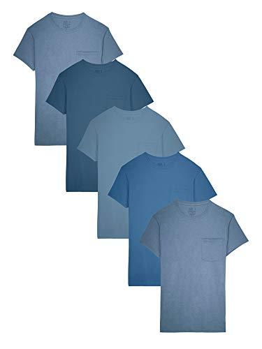 Fruit of the Loom Men's 5-Pack Tonal Blue Pocket T-Shirt, Assorted (5Pack), Medium