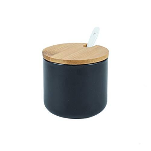 OnePine 260ml/9 oz Keramik Gewürzdosen Salztopf Keramik Zuckerdose Gewürzgläser mit Löffel und Bambus Deckel für Tee Zucker Salz Gewürze
