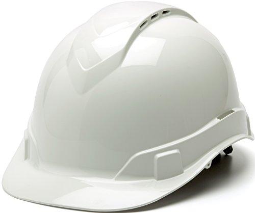 Pyramex Ridgeline Cap Style Hard Hat, Vented, 4-Point Ratchet Suspension, White