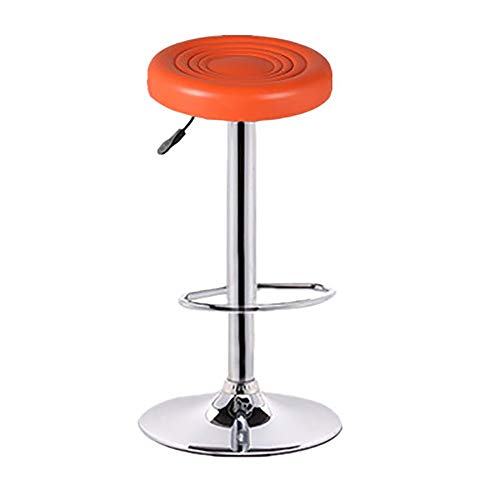 SHPEHP Pneumatic Drafting Chair-with Casters and Chrome Teardrop Footrest, Reception Desk Chair Drafting Stool Pneumatic Multi-Purpose Adjustable Work Chair-Orange