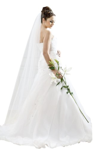 Princess Brautmoden Langer Schleier Brautschleier zum Brautkleid 170 cm lang bodenlang Kurbelkante Kamm creme ivory Brautaccessoire