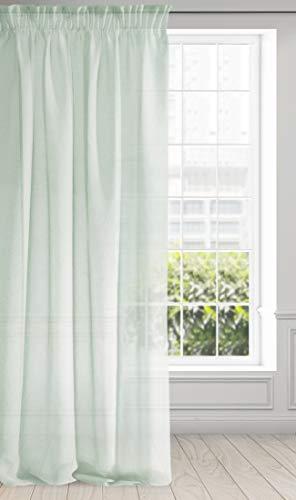 Eurofirany Vorhang Glatt Transparent Kräuselband Gardinen Durchsichtig Edel Elegant Hochwertig Glamour Schlafzimmer Wohnzimmer Lounge 1 STK, Stoff, Mint, 140X270cm