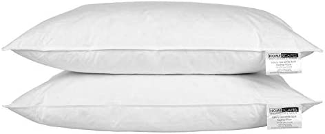 HOMESCAPES - White Duck FEATHER Pillow PAIR - Department Store Quality - Anti Dust Mite - Washable - Medium/Soft...