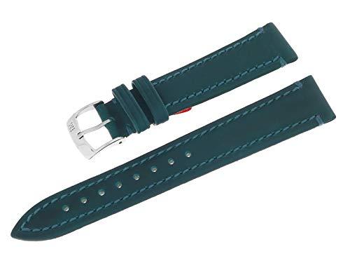 Morellato A01U3350600064CR18 - Cinturino per orologio, in vera pelle, con fibbia ad ardiglione in acciaio INOX, 18 mm, colore: Verde/Blu