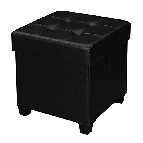 SONGMICS Storage Ottoman, Padded Folding Footrest, Chest with Lid, Solid Wood Feet, Space-Saving, Holds up to 660 lb, Black ULSF14BK