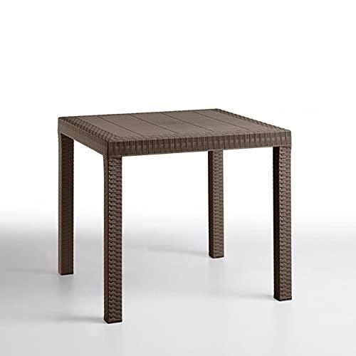 Tavolo quadrato interno esterno 80x80cm in simil rattan DALLAS (Moka)