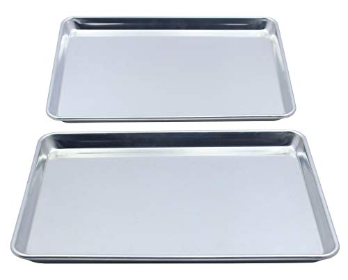 Checkered Chef Stainless Steel Quarter Sheet Pan Twin Pack - 2 Small Baking Sheets 9 ½ x 13 Inches...
