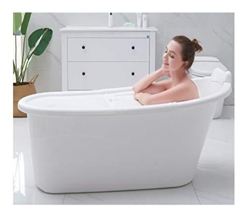 Mobile Badewanne, Stylisch und Stimmungsvoll Adult Bath Barrel verdickt Kunststoff Bad Barrel große Haushalt Badewanne Badewanne Barrel Ganzkörper Bad Barrel,Größe 98CM/1.2m/1.3m/1.4m (1.3M, white)