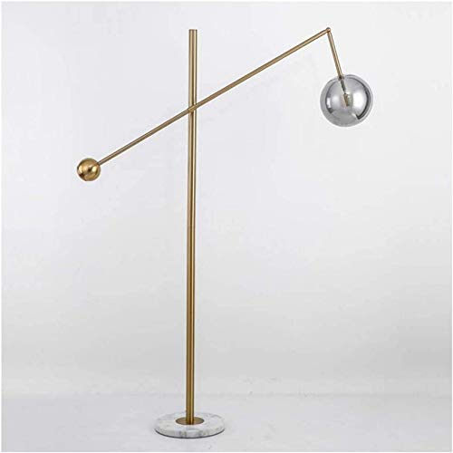Lámpara de pie para sala de estar Lámpara de pie moderna Lámpara de lectura Luz de poste de pie alto, Lámpara de pie creativa ajustable nórdica Base chapada en bronce amarillo-pedestal de mármol