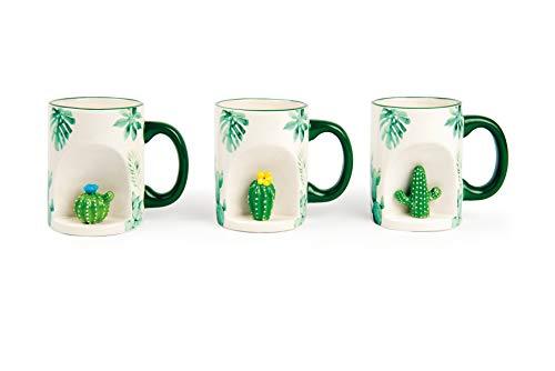 Excelsa Lot de 6 Mug, Céramique, Blanc avec décorations Cactus