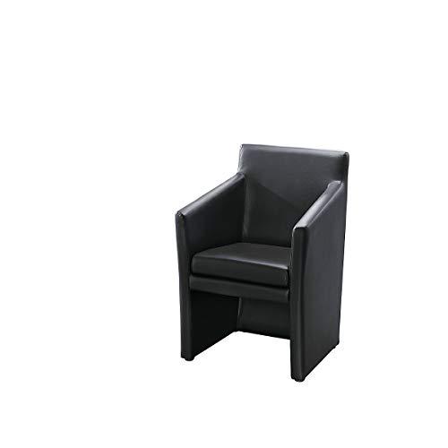 Fauteuil club rectangulaire - h x l x p 850 x 575 x 530 mm - habillage Softex noir - fauteuil fauteuil club fauteuil en cuir hall de réception réception Fauteuil Fauteuils Hall de réception Halls de réception