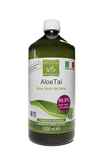Jugo y pulpa de Aloe Vera para beber, sin pasteurizar y sin filtrar - Hecho en Italia a partir de nuestros cultivos - 1 LT