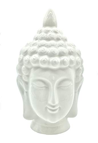 FICITI White Ceramic Buddha Head Statue, 4x4x7.5 inches