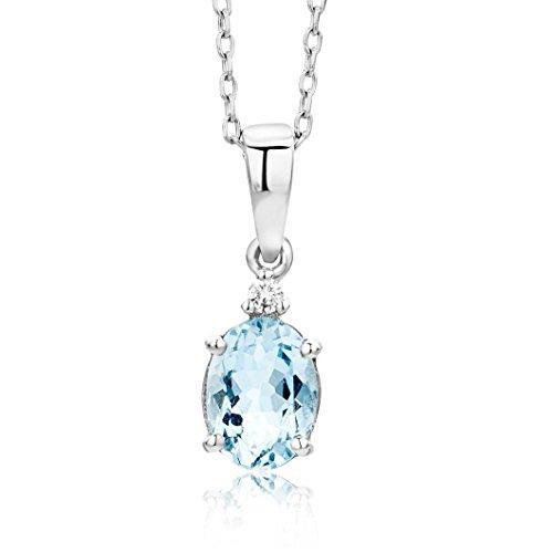 Miore Kette - Halskette Damen Weißgold 9 Karat / 375 Gold Kette  Aquamarin mit Diamant Brilliant 45 cm
