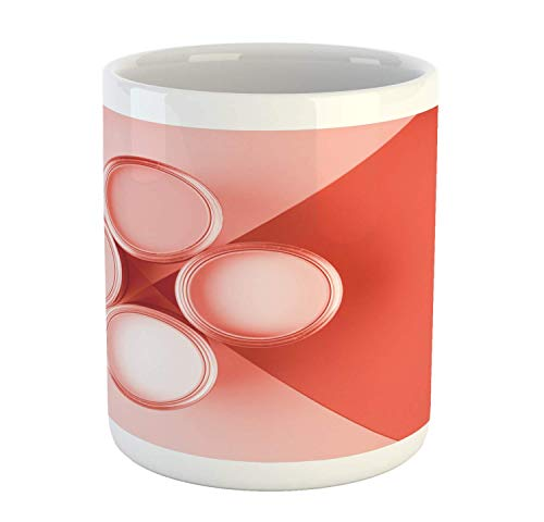 Tangry Abstract Mug, Contemporary Art Top View Picture with Open Cans of Pastel Tone Paint, Ceramic Coffee Mug Cup for Water Tea Drinks, 11 oz, Dark Salmon and Blush