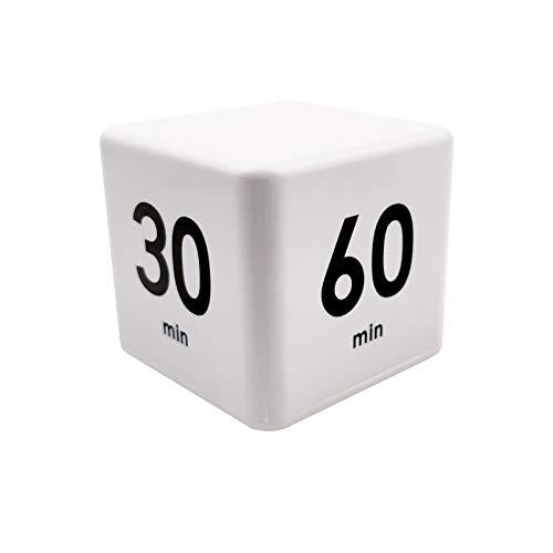 Feilifan Minuterie de Cuisine, Minuterie pour Enfants, avec Capteur de Gravité, Gestion du Temps et Compte à Rebours(15-20-30-60 Minutes, Blanc)