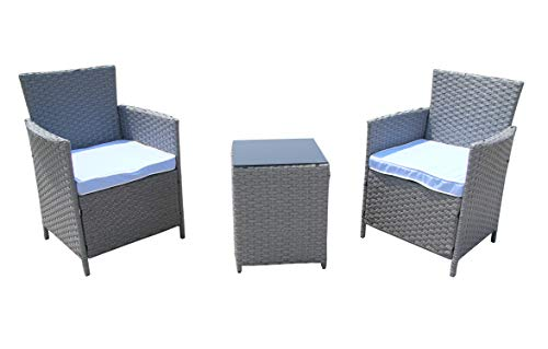 Sanfant Rattan Garden Chairs Set 2 Chairs with Coffee Table and Cushions Bistro Set for Outdoor (Grey)