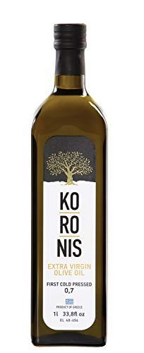 Griechisches natives Olivenöl extra   Koronis   Extra Vergine   1 Liter / 1000 ml Flasche   kaltgepresst & filtriert   0,7% Säuregehalt   Koroneiki Oliven aus Kalamata, Griechenland