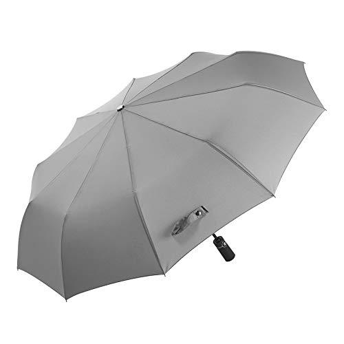 GQDP Zehn Knochen Automatischen Regenschirm Dreifach Business Anti-Splash-Regenschirm Regen Taschenschirm Grau 23in