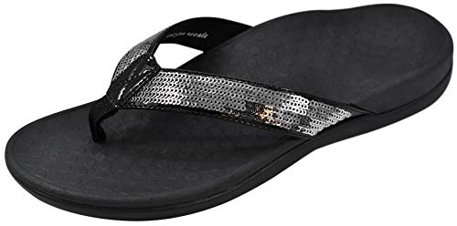 Vionic Women's Tide Sequins Toe Post Sandals - Ladies Flip Flop Sandals with Concealed Orthotic Arch Support Black/Pewter 9 Medium US