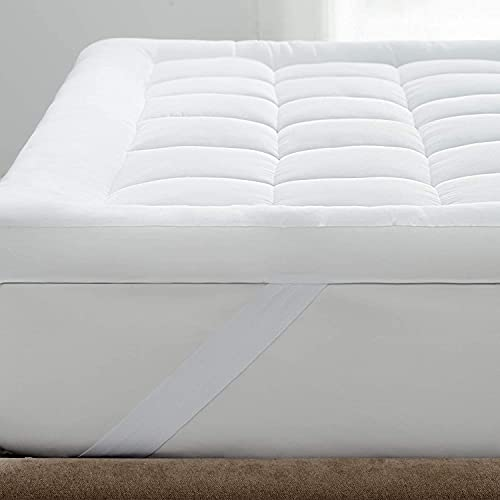 Bedsure Mattress Topper King Size - Washable Quilted Mattress Cover Overfilled Mattress Protector, 150×200cm