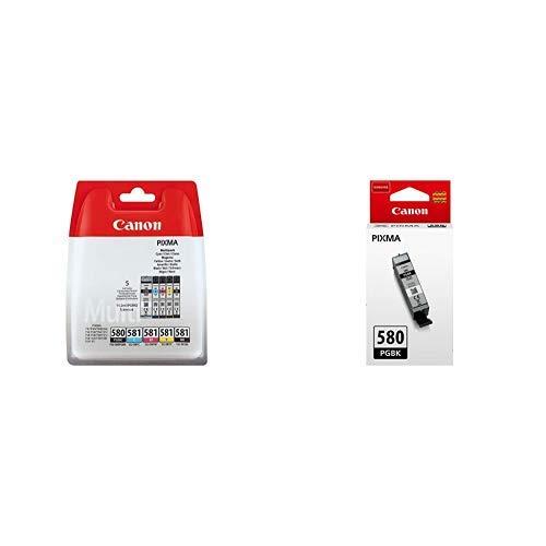 Canon PG 580+CLI 581 5 original Tintenpatrone BK/C/M/Y/PGBK für Pixma Drucker PIXMA TR7550 TR8550 TS6150 TS8150 TS9150 TS6250 TS8250 TS9550 & Canon PGI 580 BK original Tintenpatrone Pigmentschwarz