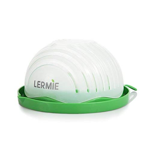 Lermie Salad Cutter Bowl: 60 Second Salad Maker, Easy, Fast Vegetable Chopper and Slicer for Veggies, Lettuce and Fruit, Cutting Board, Strainer and Dicer All - in -1 Dishwasher - BPA Free
