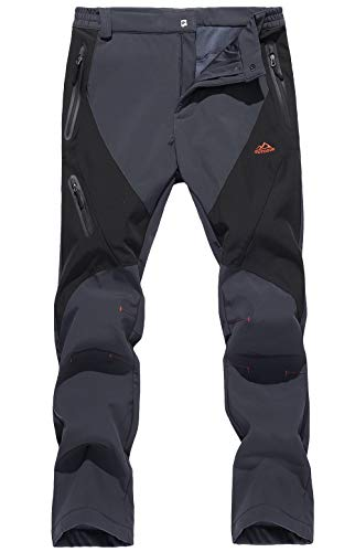 TACVASEN Men's Pants-Straight Fit Softshell Hiking Working Training Pants, Dgrey Black, 38