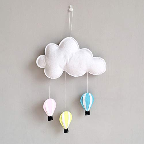 Gemini_mall Cloud Hot Air Balloon Ceiling Wall Hanging Decoration Ornament DIY Baby Room Decor Kids Room Decoration for Baby Shower White