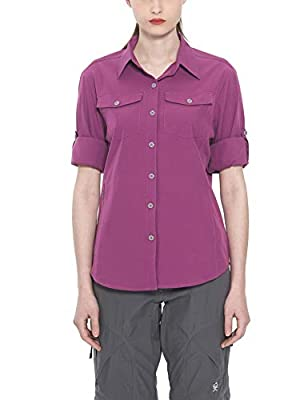 Little Donkey Andy Women's Stretch Quick Dry Water Resistant Outdoor Shirts UPF50+ for Hiking, Travel, Camping Purple Size L