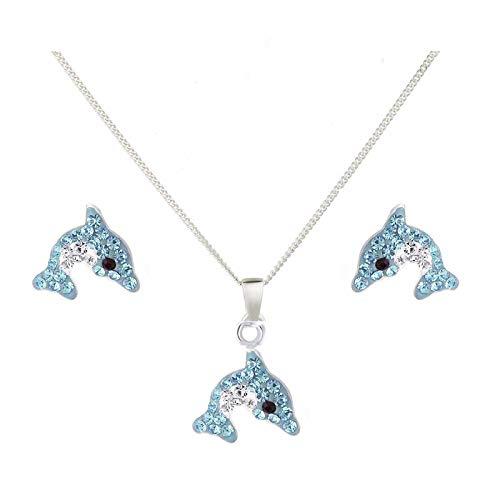 FIVE-D Kinder Ohrringe Anhänger Kette – Delfin 925 Silber - Hochwertiger Kinderschmuck mit Halskette – Geschenk Set Mädchen