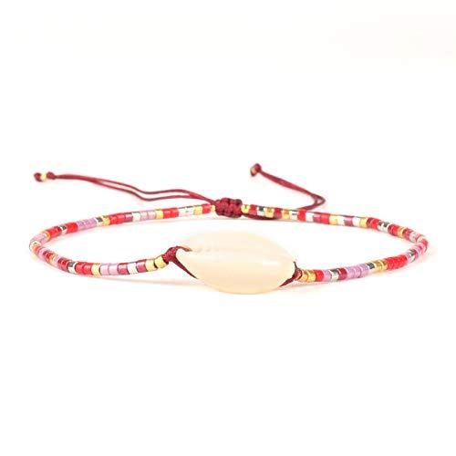 N/A Joyas de Pulsera Pulsera de Conchas Marinas para Mujer Joyería Bohemia de Cuentas de Colores Pulseras de Playa Boho Regalos Regalo de cumpleaños de San Valentín