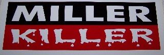 Miller Killer with Blood Drops Red White & Black 12' Welders Decals, 1-Pair