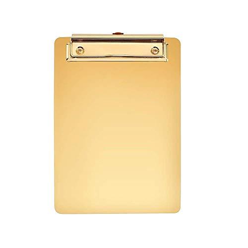 Newbeer A5-Klemmbrett, Edelstahl, Metall, Schreibblock, für Speisenkarten, Büro-Organizer mit Loch zum Aufhängen, 250 x 180 mm, 440 g, goldfarben A4 gold