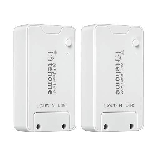 Intehome 16A Smart Home WiFi-Schalter Kompatibel mit Alexa, Fernbedienung WLAN Lichtschalter, Universelles DIY-Modul für Automatisierungslösungen (2, APP Smart Life)