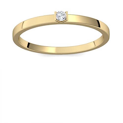 Verlobungsring Gold 585 Diamant 0,04 Carat H/si **sehr gute Qualität** +inkl. Luxusetui+ Diamantring solitär schmal dünn Goldring Diamant 585 Diamant Ring Gold Diamantring Gelbgold FF51GG585BRFA55