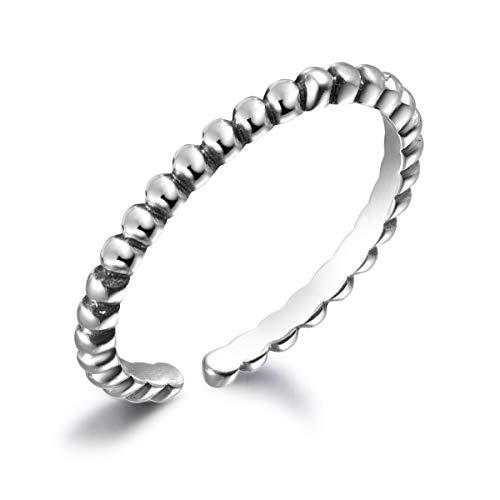 SNORSO Anillo abierto de plata de ley S925, clásico, simple, redondo, anillo ajustable para el pulgar para mujer