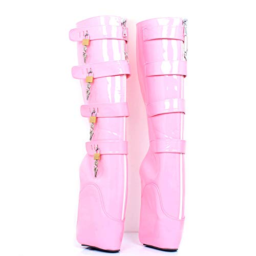COSY-L Damen Round Toe Ankle Buckle Chunky High Heel Platform Knight Martin Boots with Lock SM Flirting Ballet Pueen rosa 14uk