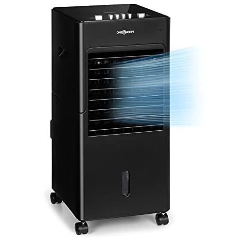 Oneconcept Freshboxx - Ventilador 3 en 1, Enfriador de Aire, Humidificador, 65W, Caudal 360m³ h, 3 Niveles de Potencia, Depósito de 6 L, Oscilación, Corriente de Aire Vertical, Portátil, Negro