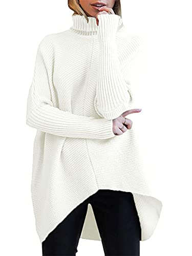 ANRABESS Womens Turtleneck Long Sleeve Sweater Asymmetric Hem Casual Winter Pullover Knit Tops A87bai-M White