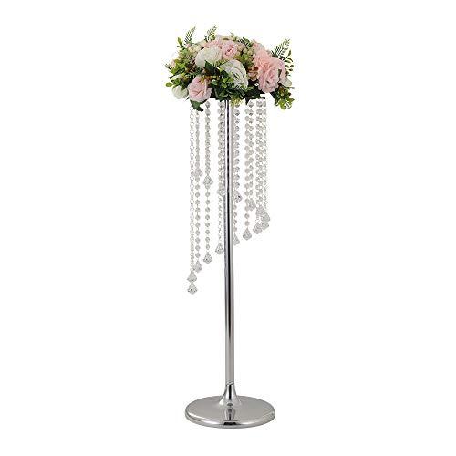 90 cm hoch Hochzeit Tischdekoration Kerzenhalter Kerzenhalter Straße Blei Blumenständer Hochzeit nach Hause Weihnachtsdekoration für Wohnzimmer, Acryl Metall, Silber- 90cm