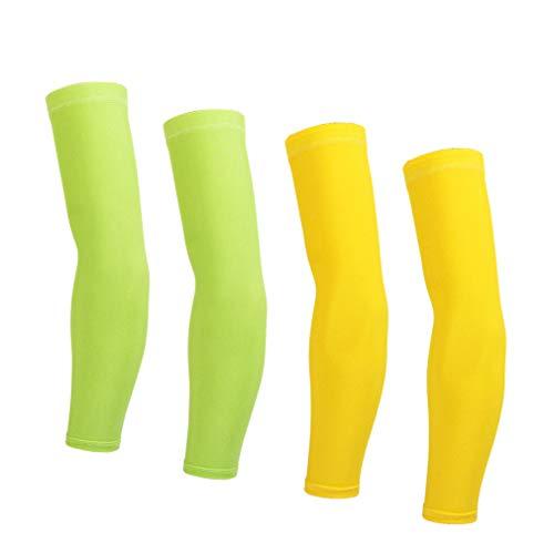Manguitos de brazo para mujer, hombre, ciclismo, verano, protección solar UV, 2 pares (amarillo + verde), Large