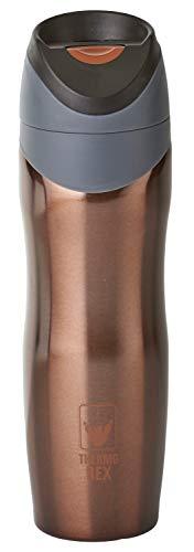 Thermo Rex Isolierbecher to go 450ml | Tee & Kaffee Thermobecher Braun Bronze | Druckknopf-System & Auslaufsicher | Pappbecher Alternative | Idealer Travel Mug