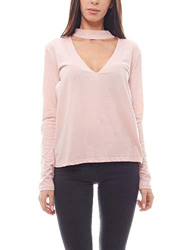 NA-KD Cut-Out Sweater locker fallender Damen Pulli mit Choker Freizeit-Pulli Pullover Rosa, Größe:S