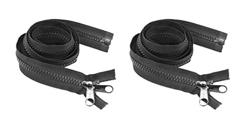 #10 Heavy Duty Zipper – Separating Plastic Zipper with Double Pull Tab Slider for Sewing Sleeping Bag Boat Cover Trampoline Dog Bag Tent by Mandala Crafts 2 PCs Black 84 Inches