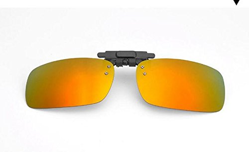1pair Adult Yellow Folder Sunglasses Clip On Flip up Glasses Sun UV 400 Protective for Driving Golf