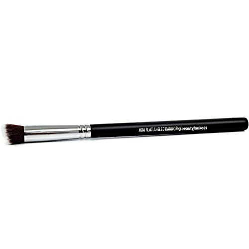 Kabuki Nose Contour Brush - Beauty Junkees Mini Flat Angle Contouring Makeup Brushes, Small Angled for Sculpting, Bronzer, Highlighter with Liquid Cream Powder Cosmetics, Dense, Vegan Synthetic
