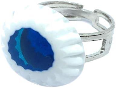 Joyería de cristal de Murano, anillo de cristal de Murano, diseño de flores de Millefiori, aprox. 2 cm x 1,7 cm, chapado en plata y ajustable, incluye caja de regalo y certificado